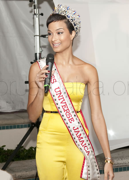 2015 Miss Universe Jamaica - Kaci Fennel speaking at our fundraiser