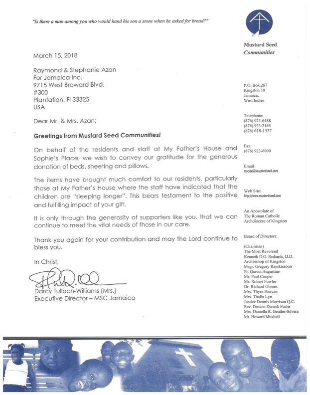 Thank you letter from Mustard Seed Communities Jamaica